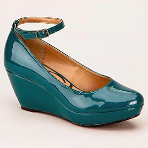 Canzone Bilekten Bantlı Dolgu Topuklu Ayakkabı
