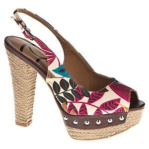 Canzone Desenli Hasır Platform Topuklu Sandalet