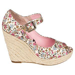 Canzone Hasır Dolgu Topuklu Çiçekli Ayakkabı