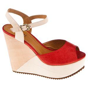 Canzone İki Renkli Dolgu Topuk Ayakkabı