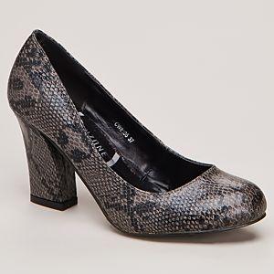 Canzone Yılan Baskılı Kalın Topuklu Ayakkabı