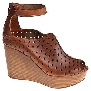Messimod Deri Bilekten Bantlı Dolgu Topuk Sandalet