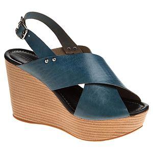 Messimod Deri Kalın Çapraz Bantlı Dolgu Topuk Sandalet