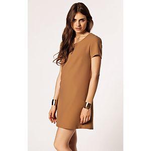 Afrodit Yakası Fermuar Detaylı Elbise