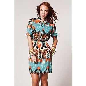 Clue Etnik Desenli Gömlek Elbise