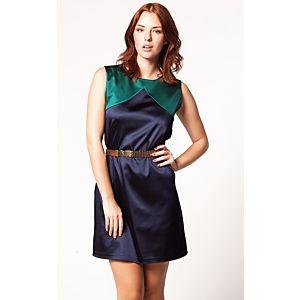 Clue İki Renkli Saten Elbise