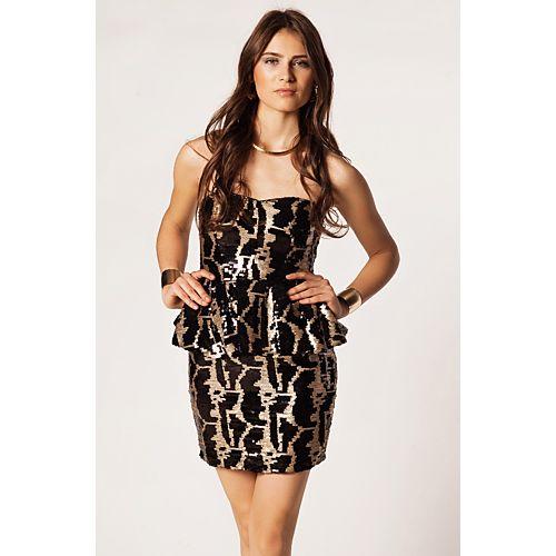 Rare London Straplez Payetli Peplum Elbise