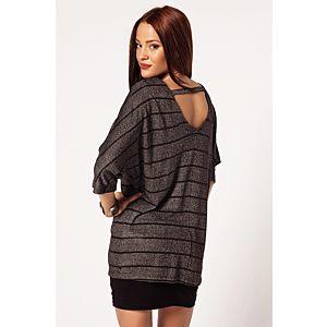 Batik Black & White Sırtı V Bluz