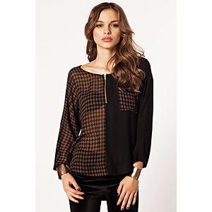 Batik Kare Desenli Bluz