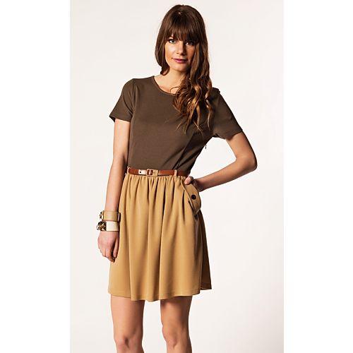 Lucky in Love Kemerli İki Renkli Elbise