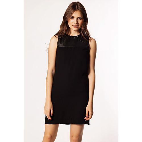 Only Mono Yakası Deri Detaylı Zımbalı Elbise