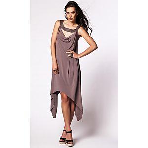 Simay Bülbül Deri Yaka Detaylı Jarse Elbise