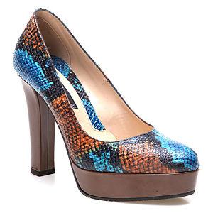 Albano Mavi/Turuncu Yılan Derisi Topuklu Ayakkabı