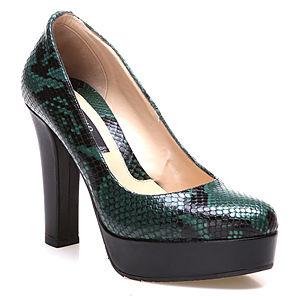 Albano Yeşil/Siyah Yılan Desenli Topuklu Ayakkabı