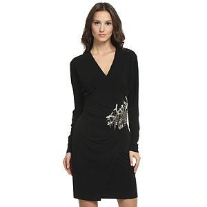 Balizza Beli İşlemeli Siyah Elbise