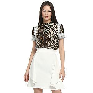 Balizza Beyaz Etekli Leopar Elbise