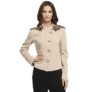 Balizza Çiçek İşlemeli Bej Ceket