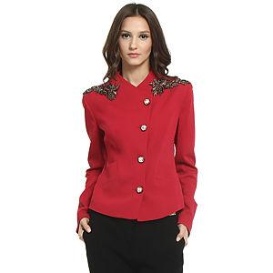 Balizza Çiçek İşlemeli Kırmızı Ceket