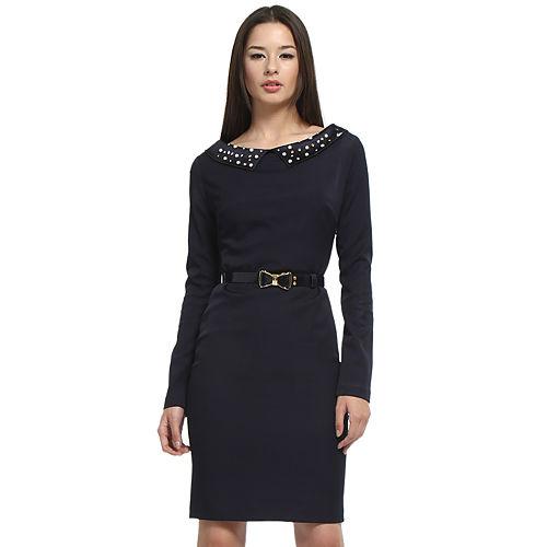 Balizza İnci Yakalı Lacivert Elbise