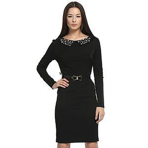 Balizza İnci Yakalı Siyah Elbise
