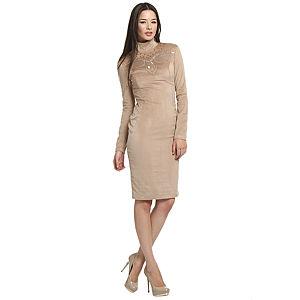 Balizza İşlemeli Bej Elbise
