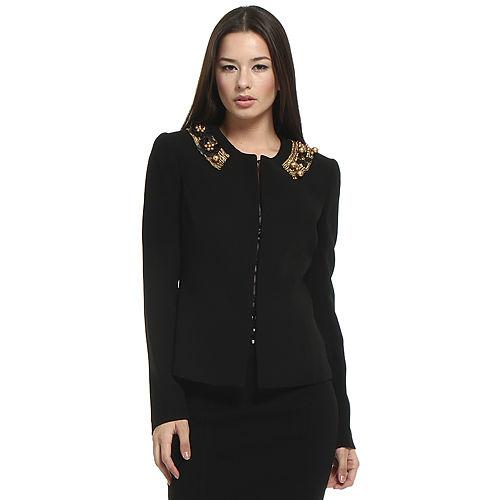Balizza İşlemeli Siyah Ceket