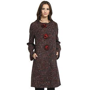 Balizza Kırmızı/Siyah Kırçıllı Palto