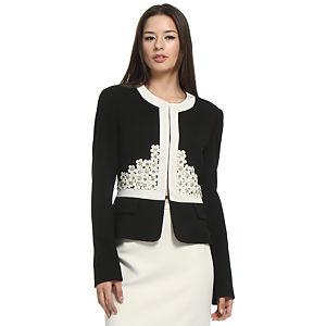 Balizza Krem Çiçekli Siyah Ceket