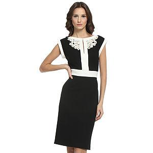 Balizza Krem Çiçekli Siyah Elbise