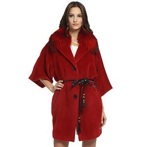 Balizza Kürklü Kırmızı Palto