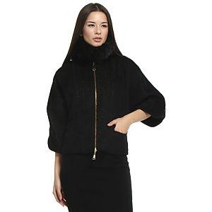 Balizza Kürklü Siyah Simli Palto