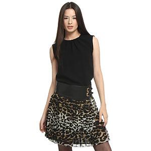 Balizza Leopar Etekli Siyah Elbise