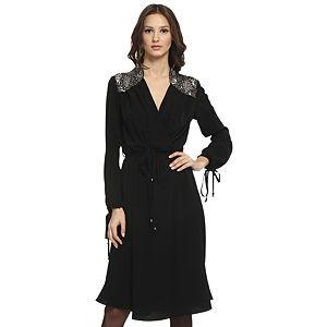 Balizza Omuzları İşlemeli Siyah Elbise