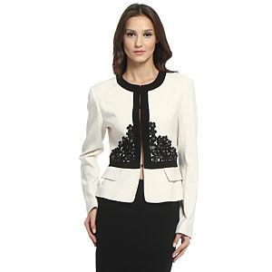 Balizza Siyah Çiçekli Krem Ceket