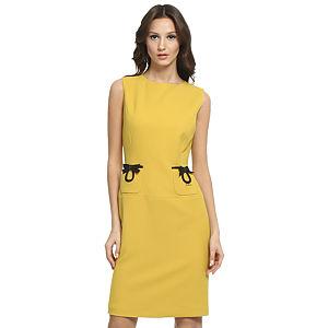 Balizza Siyah Fiyonklu Sarı Elbise