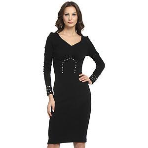 Balizza Taşlı Siyah Elbise