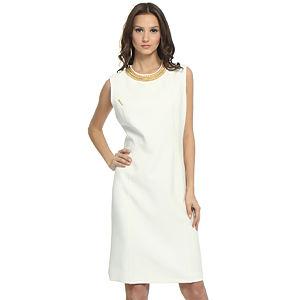 Balizza Zincir Yakalı Krem Elbise