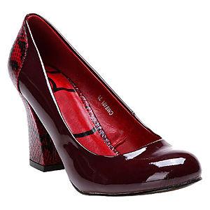 Canzone Yılan Desenli Bordo Topuklu Ayakkabı