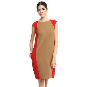 Enmoda Bej/Kırmızı Panel Elbise