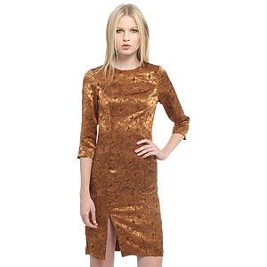 Enmoda Çiçekli Hardal Elbise