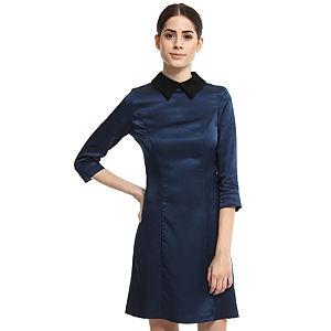 Enmoda Dantel Yakalı Lacivert Elbise