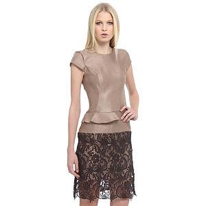 Enmoda Dantelli Dore/Kahverengi Peplum Elbise