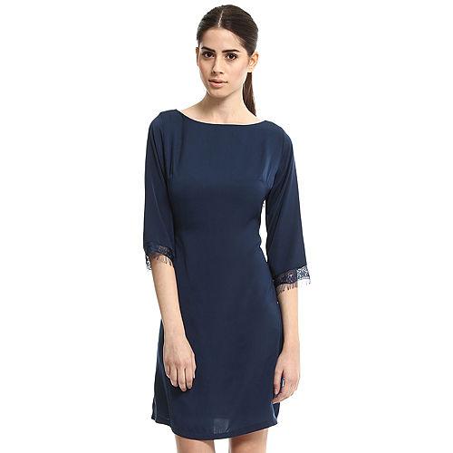 Enmoda Dantelli Lacivert Elbise