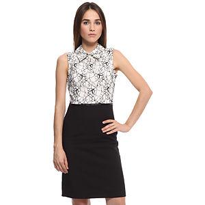 Enmoda Dantelli Siyah/Beyaz Elbise