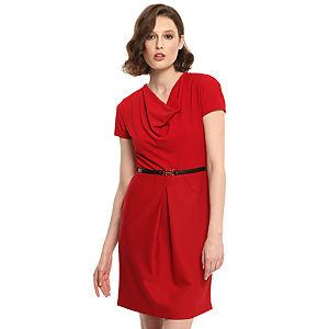 Enmoda Degaje Yaka Kırmızı Elbise