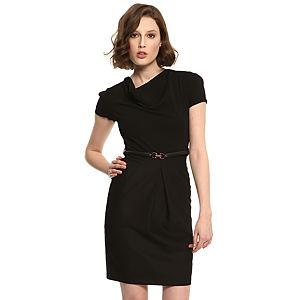 Enmoda Degaje Yaka Siyah Elbise