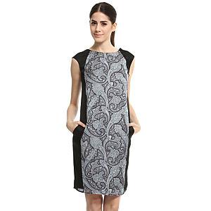 Enmoda Desenli Siyah/Gri Panel Elbise
