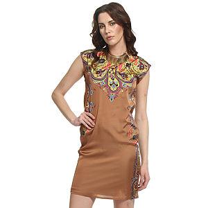Enmoda Şal Desenli Bej Elbise
