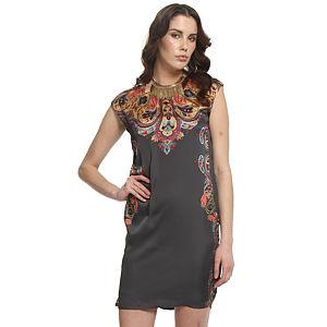 Enmoda Şal Desenli Füme Elbise