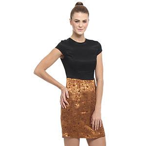 Enmoda Siyah/Hardal Brokar Elbise